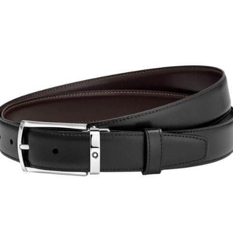Cintura elegante nera:marrone reversibile regolabile - 123889