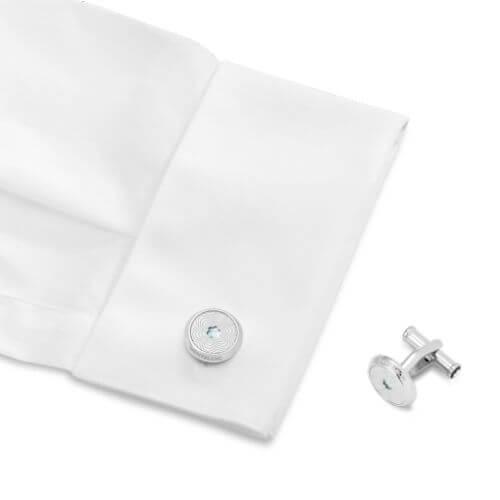 Gemelli rotondi con emblema in madreperla - 123808 #3