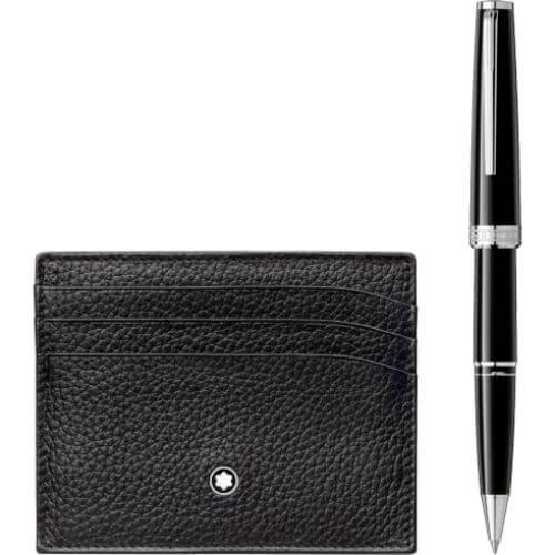 Set con roller PIX Black e porta carte di credito tascabile a 6 scomparti Meisterstück Soft Grain nero - 117088 #1